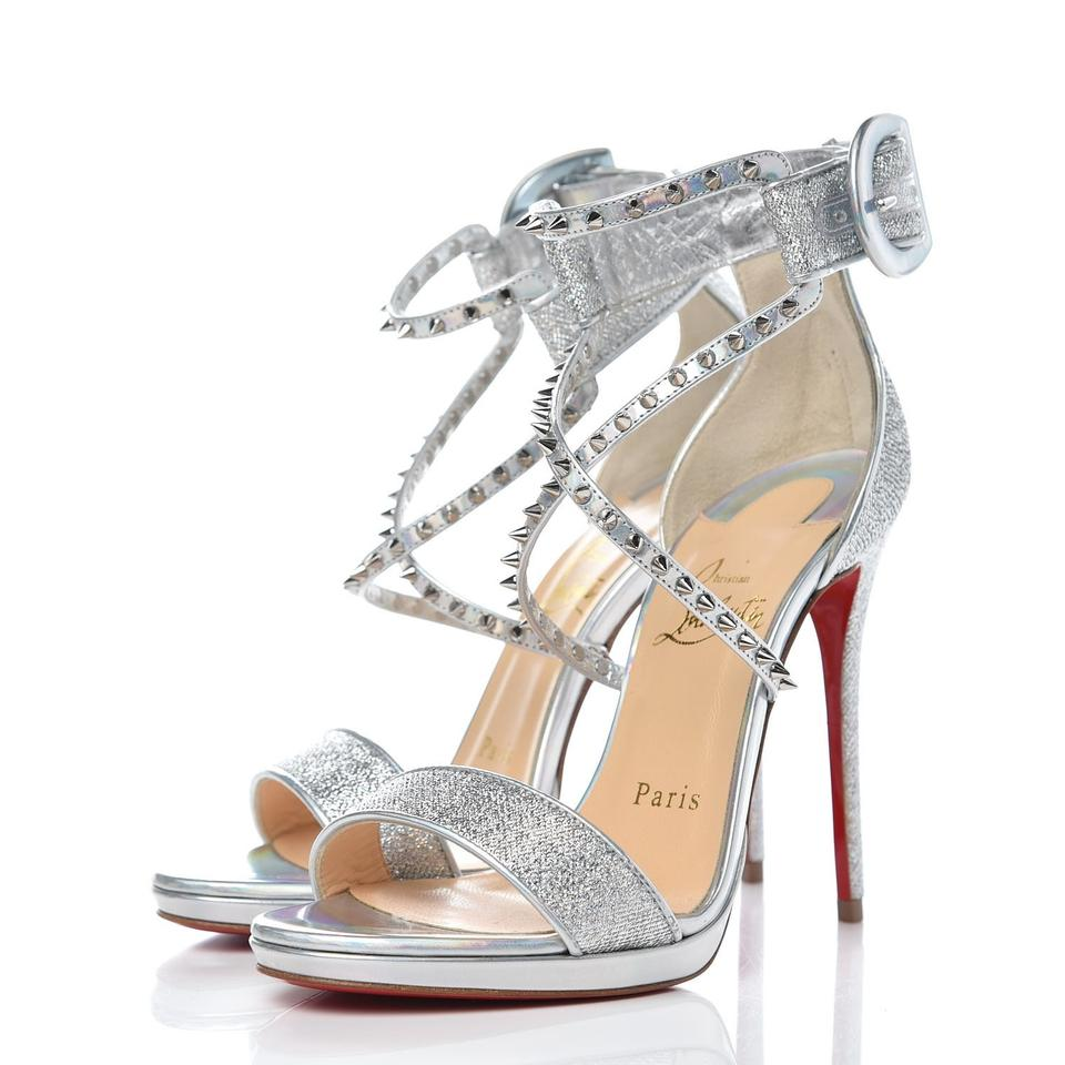 check out 4c932 1a959 Christian Louboutin Silver 'choca Lux' Lurex 120mm Metallic Studded Sandals  Size US 7 Regular (M, B) 38% off retail