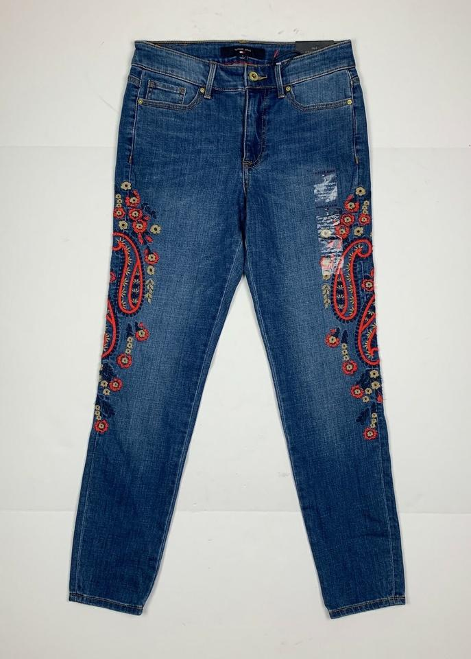 915c1475c06 Tommy Hilfiger Blue Medium Wash Embroidered Slim Women 10 New Ankl Skinny  Jeans