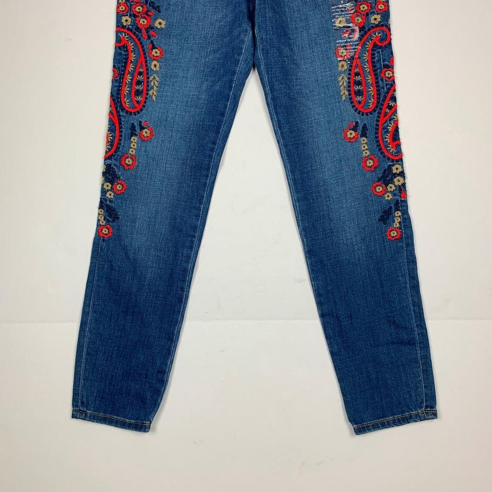 Tommy Hilfiger Blue Medium Wash Embroidered Slim Women 10 New Ankl Skinny Jeans Size 33 (10, M)