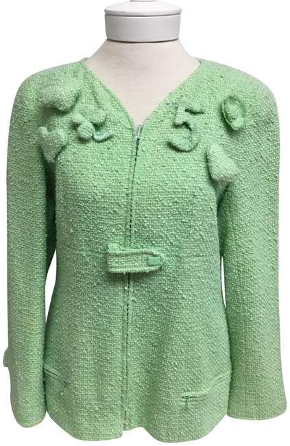 Item - Green Light Tweed with Embroidery Jacket Size 10 (M)