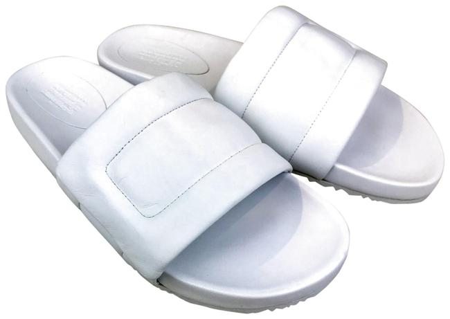 Item - White Puffy Leather Slip On Pool Sandals Size EU 42 (Approx. US 12) Regular (M, B)