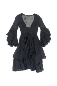 Costume National short dress Black Long Sleeve Fringe on Tradesy