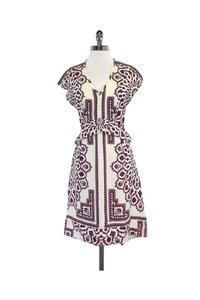 Derek Lam short dress red Cream Purple Paisley Print Silk on Tradesy