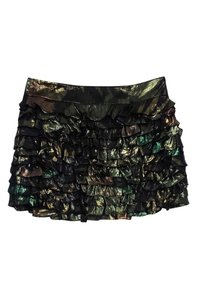 Marc by Marc Jacobs Gold Tiered Silk Skirt Green