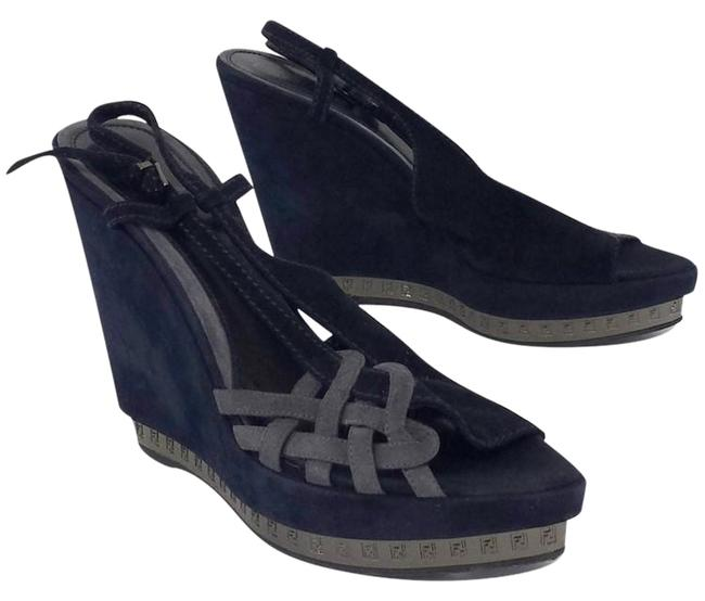 Item - Navy Blue and Gray Wedges Size US 10.5 Regular (M, B)