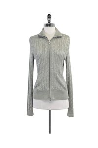 Ralph Lauren Metallic Cable Knit Zip Silver Jacket