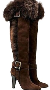 Coach Tall Fur Suede Shearling Brown Boots
