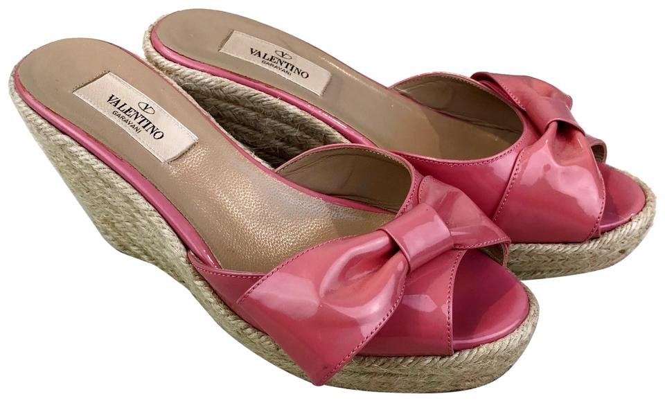 0b517df74204 Valentino Pink Patent Leather Bow Espadrille Sandals Wedges Size EU ...
