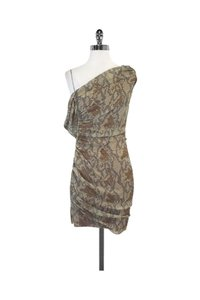 Catherine Malandrino short dress Tan Reptile Print Silk One Shoulder on Tradesy
