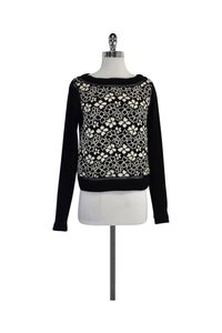 Tracy Reese White Floral Crochet Sweater