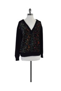 Tracy Reese Multicolor Leopard Print V Neck Sweater