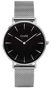 Cluse CL18106 Boheme Women's Silver Mesh Band With Black Analog Dial Watch