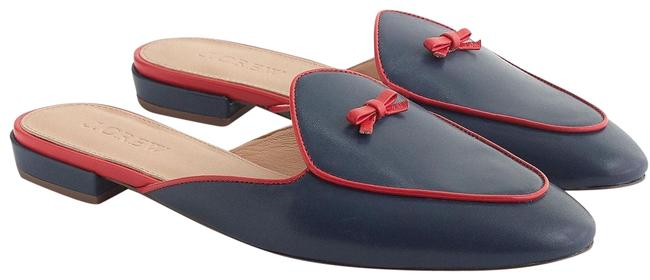 Item - Blue Red Leather Backless Loafers Mules Sandals Size US 7.5 Regular (M, B)