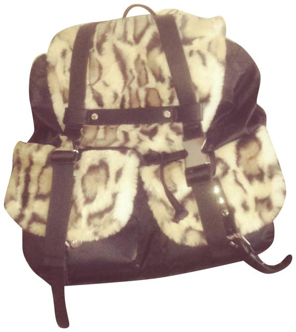 Item - Leopard Black Fur Trim Nylon Backpack