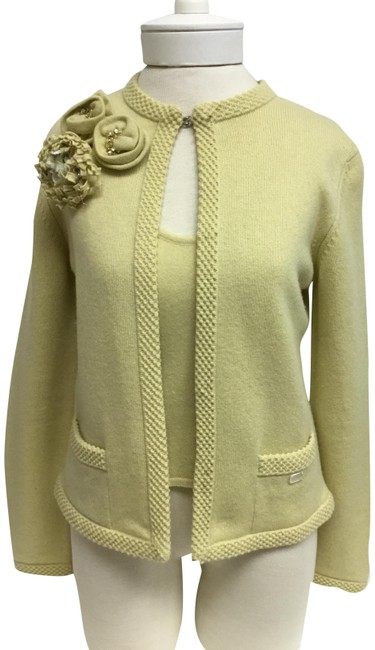 Item - Yellow Cashmere Twinsets with Flower Pins Cardigan Size 8 (M)