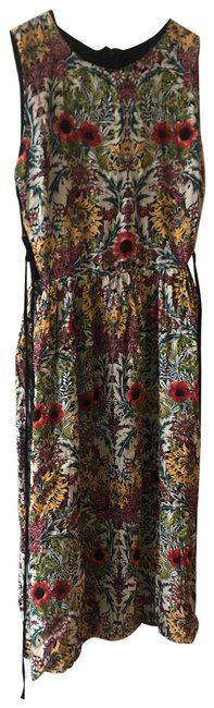 Item - White Red Green Flora A-line Sleeveless Mid-length Short Casual Dress Size 6 (S)