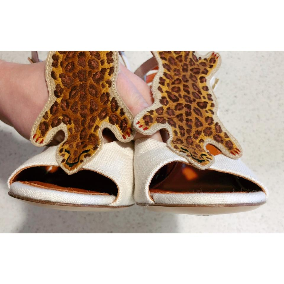 """3bdbcf87660c Charlotte Olympia Ivory Brown Canvas """"african Queen"""" Leopard Heel 35.5 5  Pumps Size US 5.5 Regular (M, B) - Tradesy"""