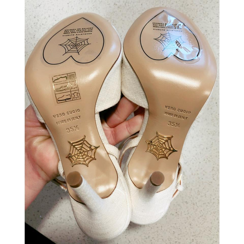 """e31d15f6f7ea Charlotte Olympia Ivory Brown Canvas """"african Queen"""" Leopard Heel ..."""