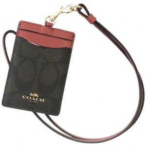 Coach Coach Card Holder ID Card Wallet Wristlet Necklace with Lanyard Strap