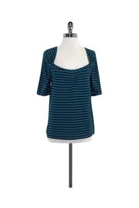 Marc by Marc Jacobs Teal Navy Striped Cotton T Shirt