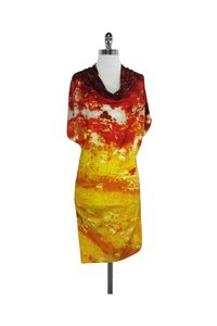 Catherine Malandrino short dress orange Red Yellow Silk on Tradesy