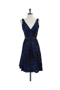 Carmen Marc Valvo short dress Blue Jacquard Sleeveless on Tradesy