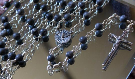 Other Sterling Italian Rosary with Black Jasper Beads - UNBREAKABLE