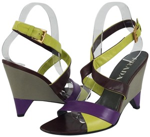 Prada Ships In 24 Hours Wedge Gray Bordeaux Multi Sandals