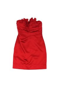 Phoebe Couture short dress Red Ruffle Strapless on Tradesy
