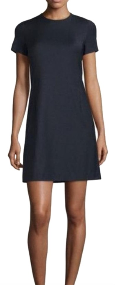 d90e4b67b0cc Theory Navy (With Black Leather) Wool Blend Cap Sleeve Shift Casual Dress