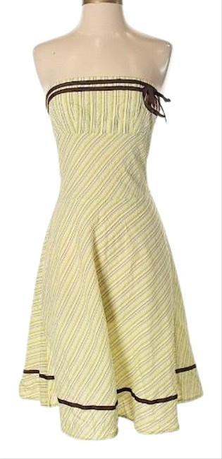 Item - Spring Greens W/Brown Accents Strapless Lightweight Sundress Short Casual Dress Size 4 (S)