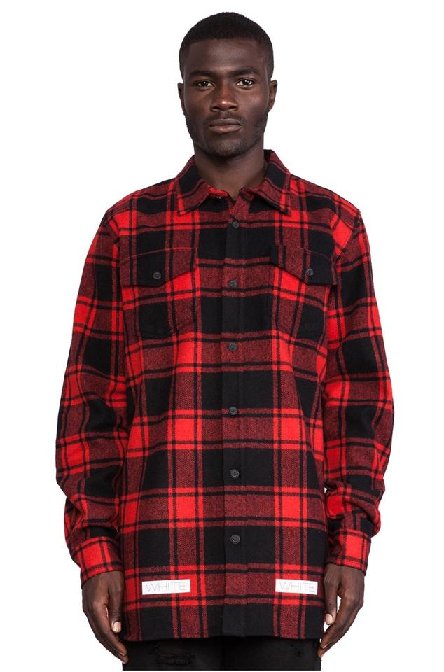 12bb876417fa Off-White™ Red Sold Out 13 Flannel Plaid   Black Checkered Shirt Xxs Jacket
