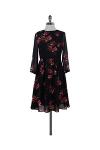 Erin Fetherston short dress Black Red Green Floral Print Pleated on Tradesy