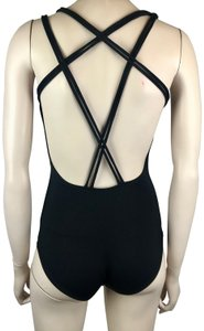 Capezio CAPEZIO ONE PIECE BLACK LEOTARD DANCE SWIMSUIT BUILT IN BRA SHELF
