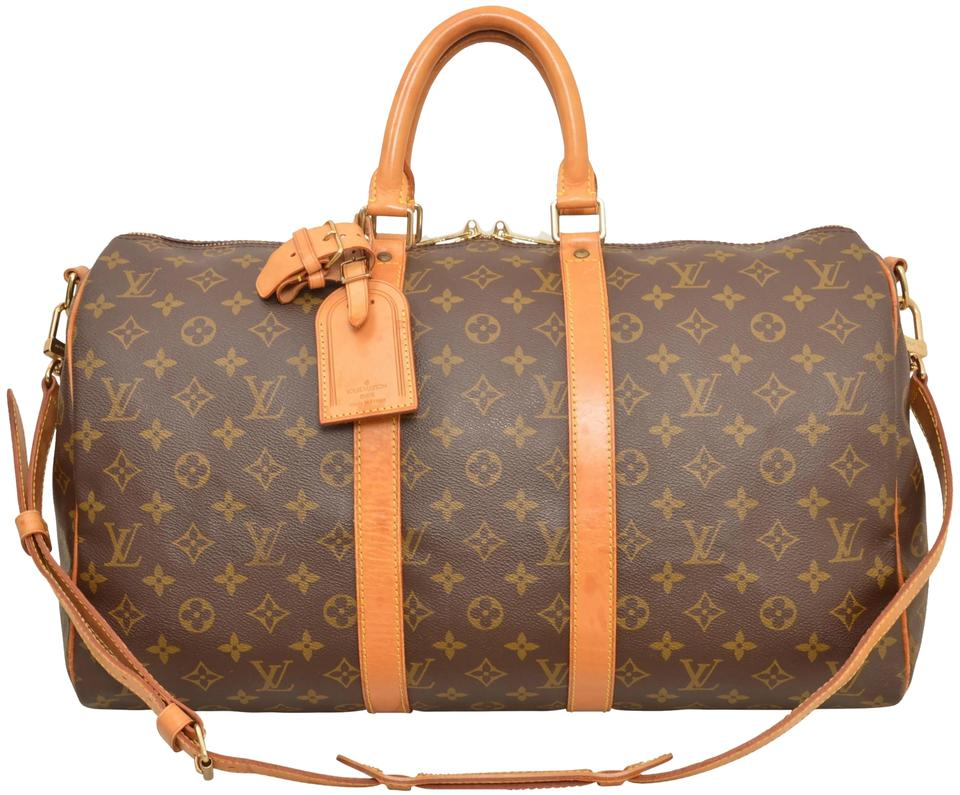 06ffc4eb10f Louis Vuitton Keepall Duffle 50 Bandouliere Carry On Luggage M41416 Brown  Monogram Weekend Travel Bag
