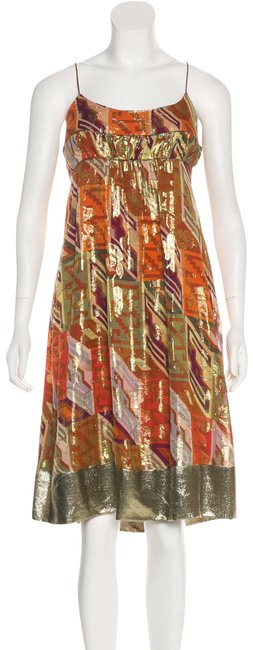 Item - Orange Gold Green Metallic Print Scarf Mid-length Night Out Dress Size 2 (XS)