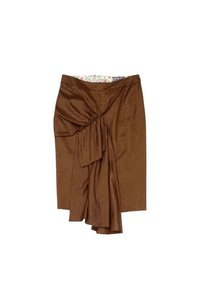 L.A.M.B. Gold Metallic Draped Skirt Brown