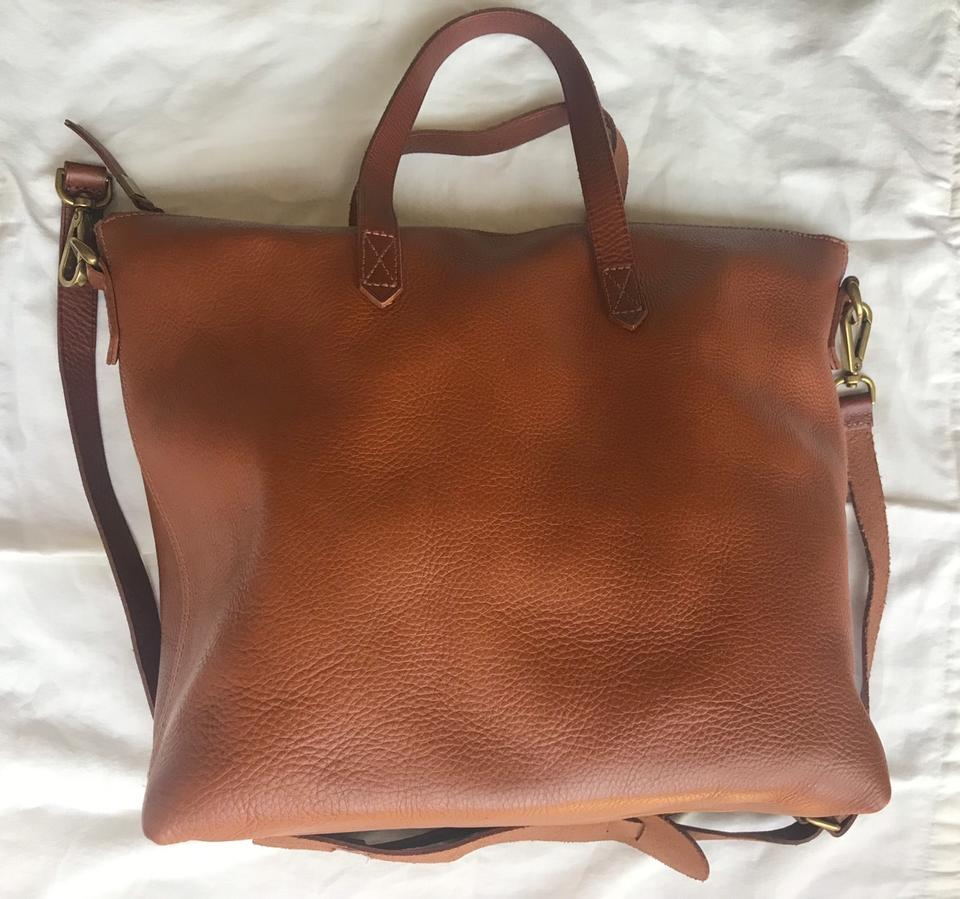 99f37a9f0ebe Madewell Ziptop Transport Carryall English Saddle Brown Leather Tote ...