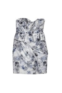 Mikael Aghal short dress Grey White Rose Garden Strapless on Tradesy