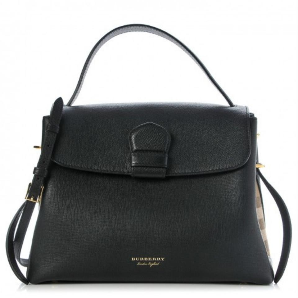 1cfd2f6a0963 Burberry Medium Grainy and House Check Black Calfskin Leather Tote ...