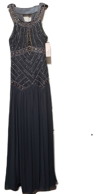 Item - Gray Halter Beaded Formal Dress Size 4 (S)