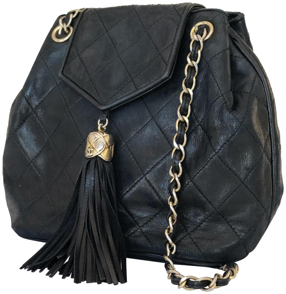 c9dc153a64f6ca Chanel Classic Flap Vintage Quilted Chain with Tassel Black Lambskin  Leather Shoulder Bag