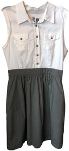 Edme & Esyllte short dress White and Olive Green Cotton on Tradesy