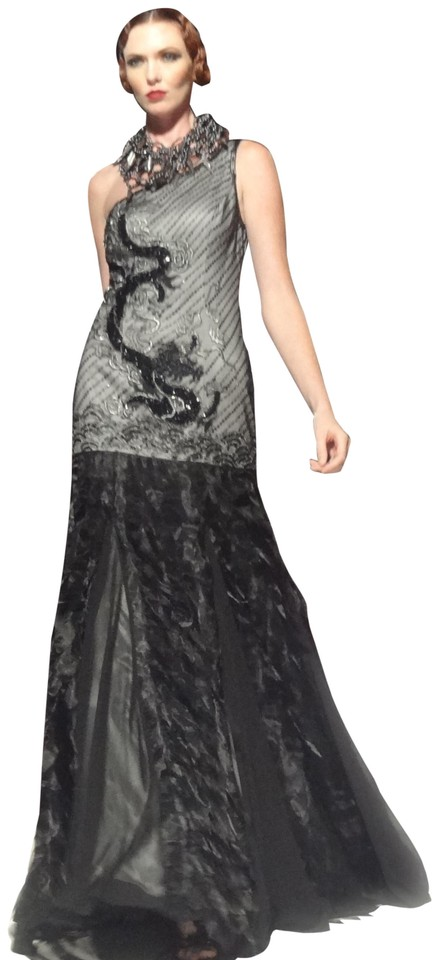 0f1db96d09 Sue Wong Black Silver One Shoulder Beaded Dragon Motif Formal Dress ...