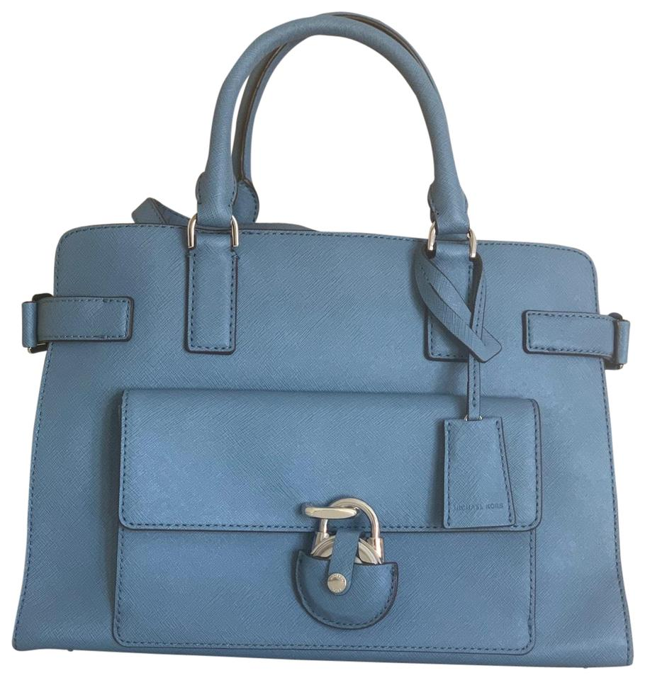 407fd29332a0e9 Michael Kors Emma Medium Cornflower Blue Saffiano Leather Satchel ...