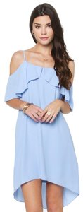 Everly short dress blue Ready For Ruffles Cold Shoulder Shift on Tradesy
