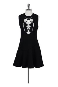 Marchesa Voyage short dress Black Flared W/ Sequin Embroidery on Tradesy