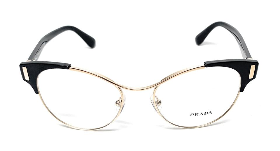 f378fd1392fc Prada NEW VPR 61T 1AB-1O1 BLACK   GOLD WOMEN S AUTHENTIC FRAME 52-18 ...
