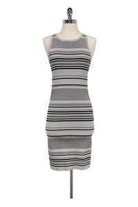 Carmen Marc Valvo short dress Grey Printed Striped on Tradesy