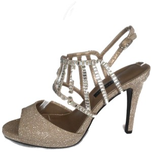 c6b65e2b5e29 Caparros Embellished Rhinestone Cage Mesh Leather Sole Gold Sandals